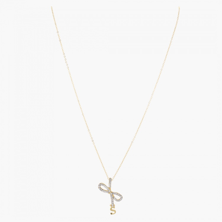 Sasha Ribbon Studded Pendant Necklace