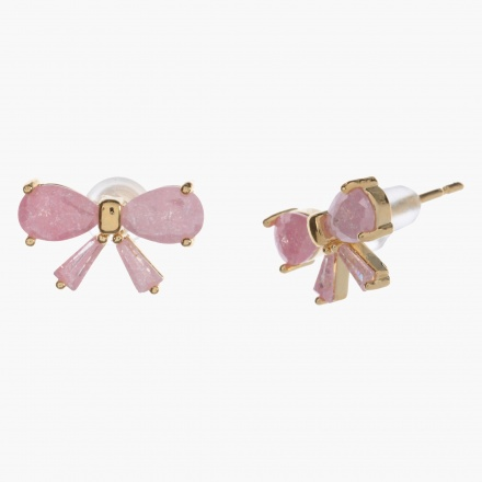 Sasha Ribbon Stud Earrings with Faceted Crystals