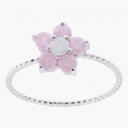 Sasha Floral Studded Finger Ring - Size 7
