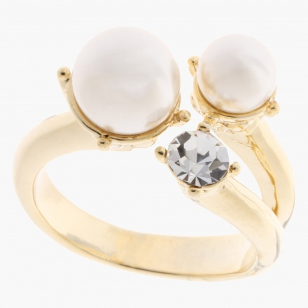 Sasha Pearl and Crystal-embellished Open Ring