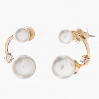 Adore Curved Accent Earrings with Pearls and Crystal
