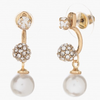 Adore Crystal-embellished Earrings with Dangling Pearls
