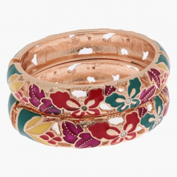 Hinged Bangle Bracelets with Multi-Floral Patterns - Set of 2