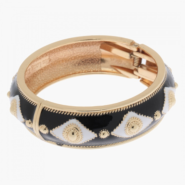 Hinged Bangle Bracelet with Diamond-shaped Patterns