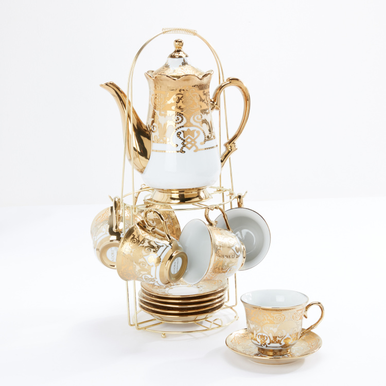 Decorative 10-Piece Tea Set with Stand