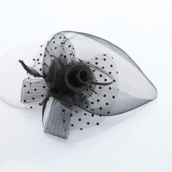 Polka Dots Derby Hairband with Flower Applique