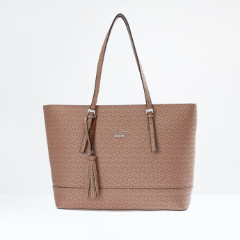 Guess Printed Tote Bag with Zip Closure