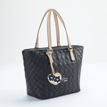 Quilted Tote Bag with Dual Handles and Zip Closure