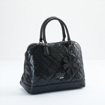 Guess Textured and Quilted Dome Bag with Flower Charm Dangler