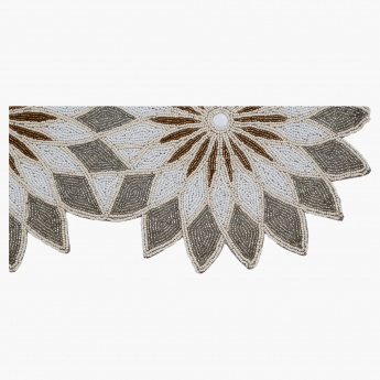 Elite D' Art Floral Beaded Table Runner - 37x91 cms