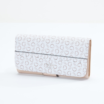 Guess Printed Wallet with Flap and Press Button Closure