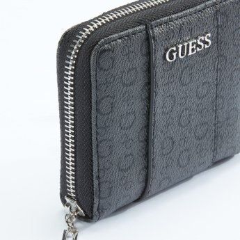 Guess Printed Bi-Fold Wallet with Zip Closure