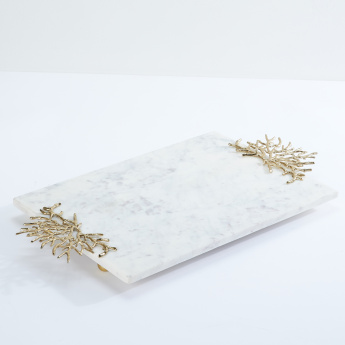 Rectangular Tray with Coral Accent