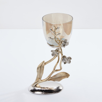 Decorative Candle Holder with Metallic Accents