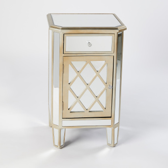 Beveled Mirror 1-Door 1-Drawer Storage Cabinet