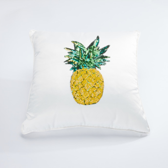 Pineapple Embellished Filled Cushion - 45x45 cms
