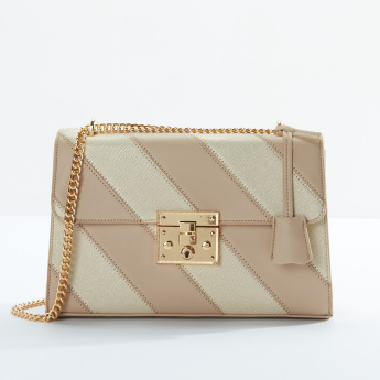Charlotte Reid Stitch Detail Satchel Bag with Metallic Chain Strap