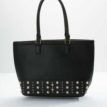 Sasha Pearl Detail Handbag with Zip Closure