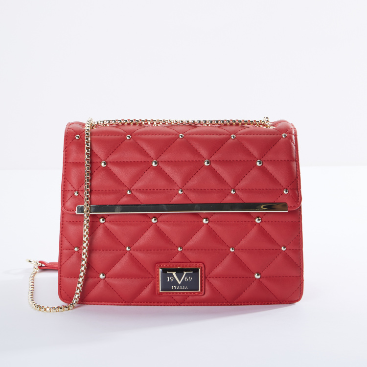 Quilted Crossbody Bag with Embellishments