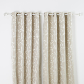 Hexa Jacquard Curtain Pair with Lining - 130x240 cms