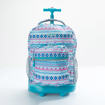 J World Tribal Printed Trolley Backpack with Zip Closure