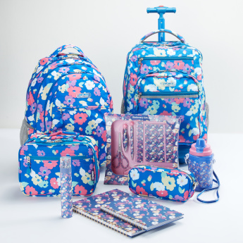 J World Floral Printed Trolley Backpack with Zip Closure