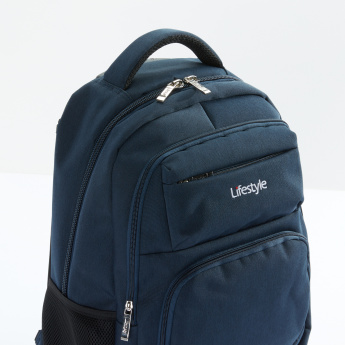Textured 2-Wheel Trolley Backpack with Zip Closure