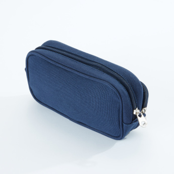 icon Striped Pencil Case with Double Zip Closure