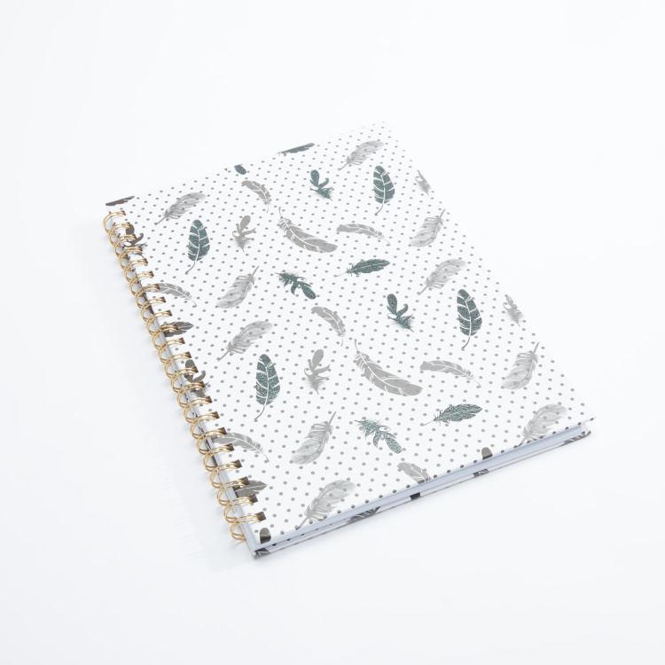 J World Feather Printed A4 Spiral Bound Notebook