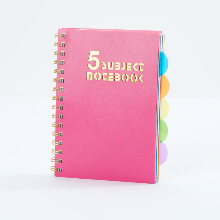 Printed 5-Subject Notebook with Spiral Binding