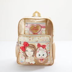 Minmie Kitten Printed Glitter Detail Backpack with Zip Closure