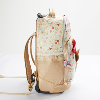 Minmie Printed Trolley Backpack with Zip Closure