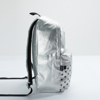 Smiley World Printed Backpack with Zip Closure and Adjsutable Straps