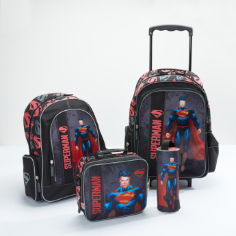 Superman Printed Lunch Bag with Zip Closure and Adjustable Strap