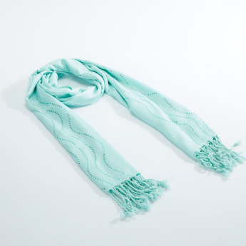 Sasha Sequin Detail Scarf with Tassels