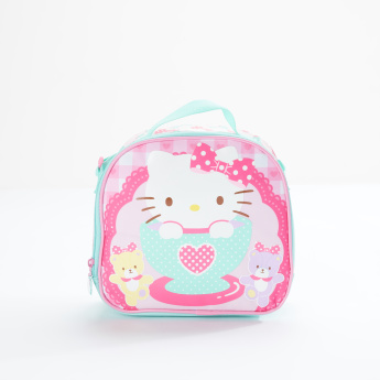 Hello Kitty Printed Lunch Bag with Zip Closure and Shoulder Strap