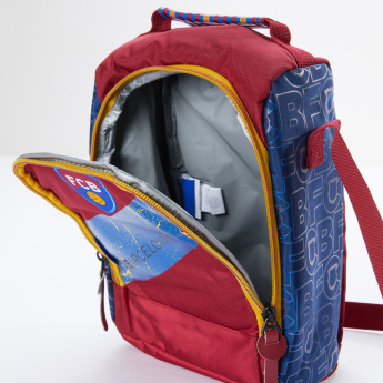 FC Barcelona Printed Lunch Bag with Zip Closure and Adjustable Strap