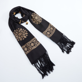 Sasha Printed Scarf with Tassels