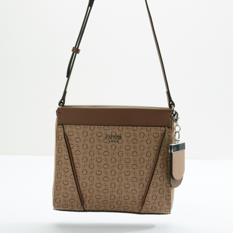 Guess Printed Crossbody Bag with Zip Closure and Adjustable Strap