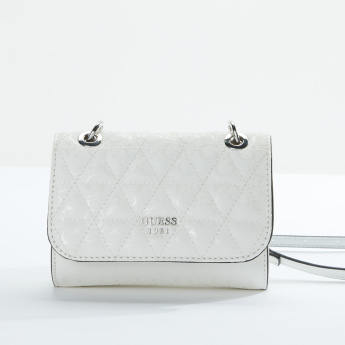 Guess Quilted Satchel Bag with Magnetic Snap Closure
