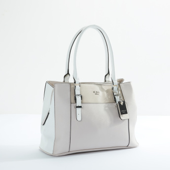 Guess Multi-Compartment Handbag with Zip and Magnetic Snap Closure