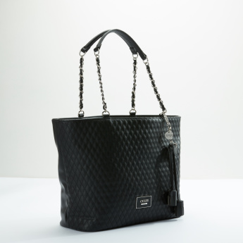 Guess Quilted Shopper Bag with Zip Closure and Tassels