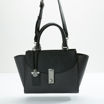 Guess Printed Handbag with Zip Closure and Adjustable Strap