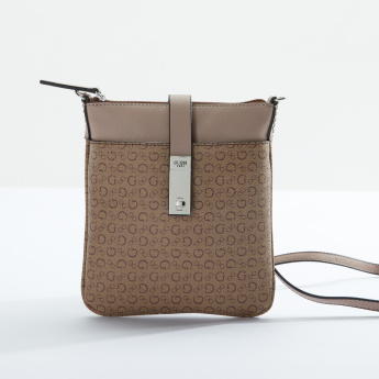 Guess Textured Crossbody Bag with Zip Closure and Adjustable Strap