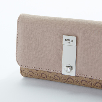 Guess Printed Flap Wallet with Press Button Closure