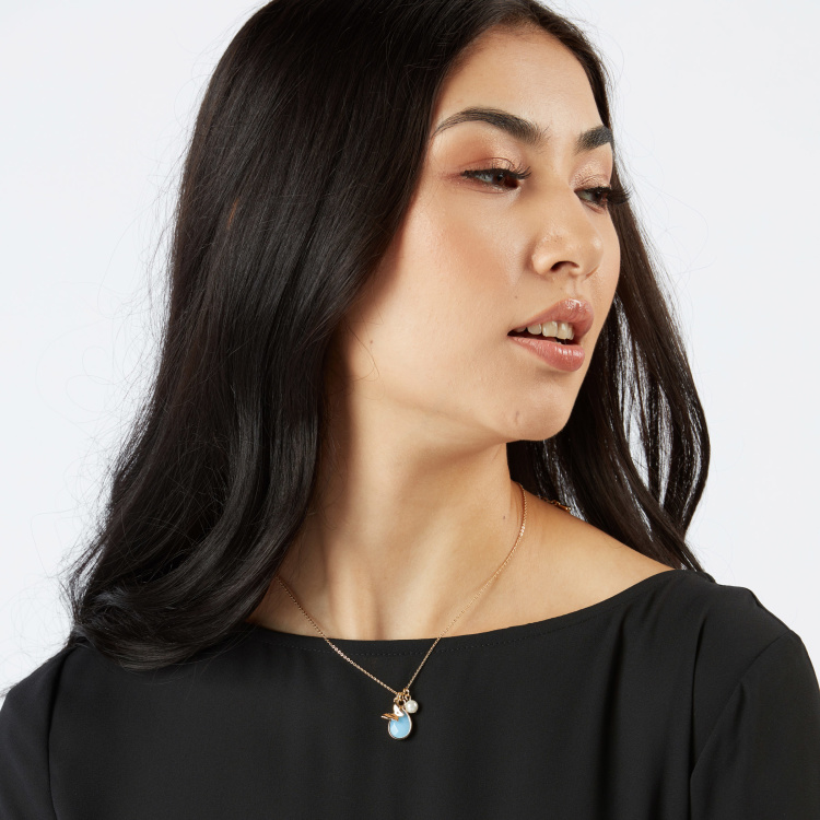 Sasha Pearl and Charm Detail Necklace with Lobster Clasp
