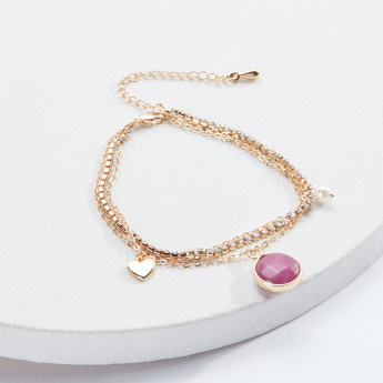 Sasha Layered Bracelet with Studs and Lobster Clasp