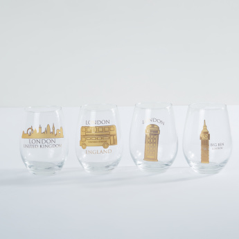 Circleware Printed Stemless Wine Glass - Set of 4