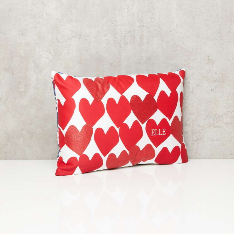 ELLE Heart Printed Filled Cushion - 35x50 cms