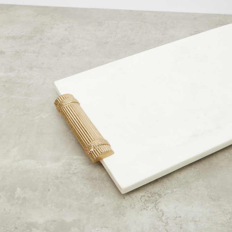 Rectangular  Marble Tray with Handle - 43x25x5 cms